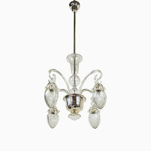 Vintage Glass Chandelier, 1920s