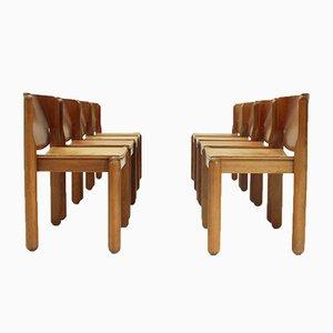 Sedie da pranzo nr. 122 con sedute in pelle di Vico Magistretti per Cassina, anni '60, set di 8
