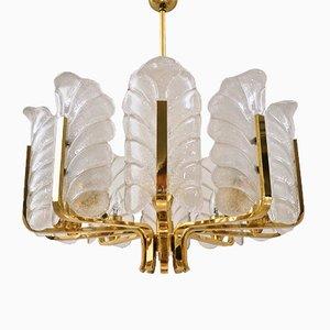 Lámpara de araña sueca de latón y vidrio de Carl Fagerlund para Orreparas, años 60