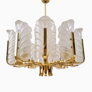 Swedish Glass & Brass Chandelier by Carl Fagerlund for Orrefors, 1960s