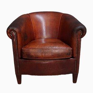 Chaise Club Vintage en Cuir Cognac, Pays-Bas