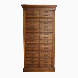 Antique French Oak Bank Cabinet, 1900s