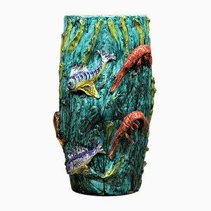 Vaso Mid-Century con animali marini di Vietri per Ceramica Artistica Solimene, Italia