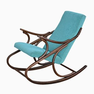 Vintage Turquoise Rocking Chair from TON, 1950s
