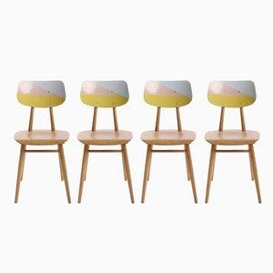Neu lackierte tschechische Stühle, 1960er, 4er Set