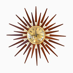 Mid-Century Sunburst Wall Clock from Anstey & Wilson
