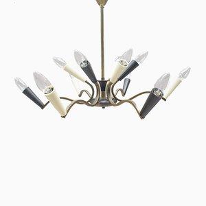 Lámpara de araña Mid-Century en blanco y negro con armazón de latón