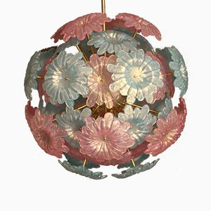 Lustre Sputnik Vintage à Fleurs en Verre de Murano, Italie, 1980s