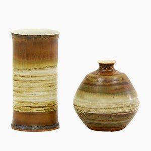 Vintage Ateljé Stoneware Vases in Matte Chestnut Glaze by John Andersson for Höganäs Keramik