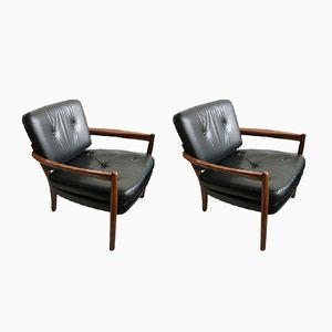 Rosewood and Leather Lounge Chairs, 1960s, Set of 2
