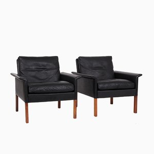 Mid-Century Easy Chairs in Black Leather by Hans Olsen for CS Mobelfabrik, Set of 2