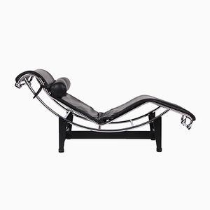 Fauteuil Modèle LC4 Vintage en Cuir Noir par Le Corbusier pour Cassina