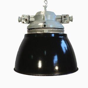 Lampada vintage a prova di esplosione in alluminio con paralume smaltato nero