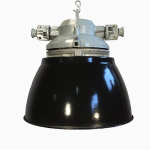 Vintage Aluminium Explosion Proof Lamp with Black Enameled Shade
