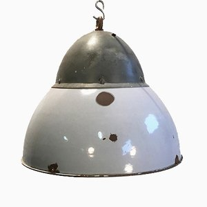 Vintage Gray Enameled Hanging Lamp