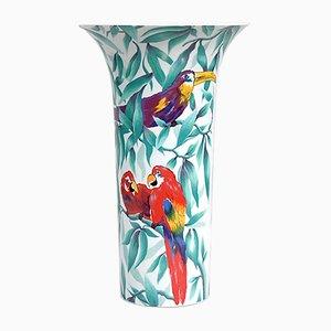 Vaso in porcellana con pappagalli di AK Kaiser, anni '80