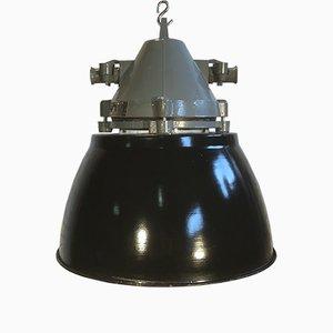 Lámpara vintage resistente a explosiones en gris oscuro con pantalla esmaltada en negro