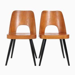 Mid-Century Buchenholz Stühle von Oswald Haerdtl für Thonet, 1950er, 2er Set