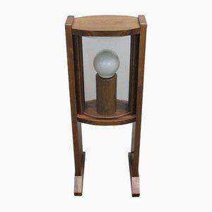 Lampada da terra vintage in legno con lastre curve in vetro, anni '60