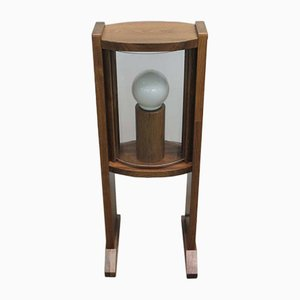 Vintage Wooden Floor Lamp with Arched Glass Panes, 1960s