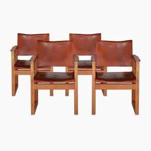 Pine & Leather Chairs, 1970s, Set of 4