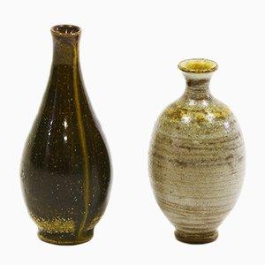 Vintage Miniatur Steingut Vasen mit Salzglasur Finish von Wallåkra, 2er Set