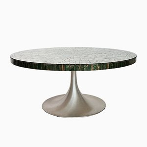Coffee Table with Green Glass Mosaic & Tulip Pedestal by Heinz Lilienthal, 1970s
