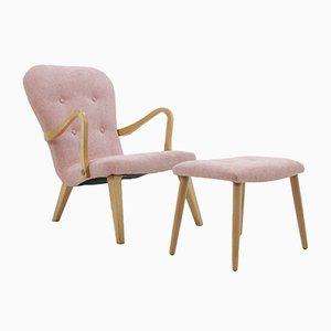 Dänischer Eichenholz Sessel mit Hocker, 1960er