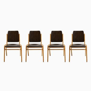 Mid-Century Beech Austro Dining Chairs by Franz Schuster for Wiesner-Hager, Set of 4