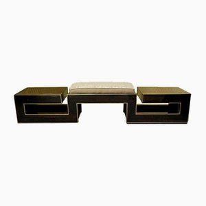 Italian Macassar and Brass Bench, 1960s