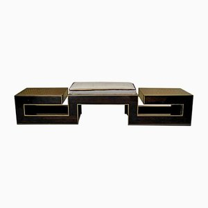 Macassar and Brass Italian Bench, 1960s