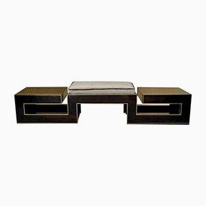 Macassar and Brass Italian Bench, 1960s