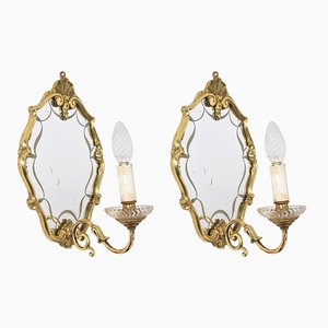 Italian Brass Sconces with Decorated Mirrors, 1930s, Set of 2