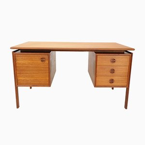 Teak Veneer Writing Desk by Arne Vodder for GV Møbler, 1960s