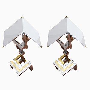 Lámparas italianas geométricas de Willy Rizzo, años 70. Juego de 2