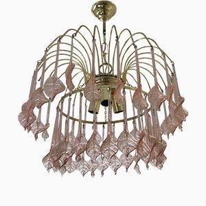 Lámpara de araña italiana floral de cristal de Murano rosa, años 70