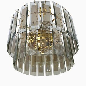 Fontana arte Vintage Gilt Framed Murano Glass Chandelier, 1970s