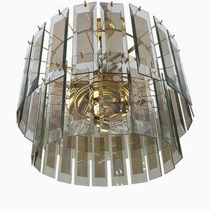 Lampadario vintage in vetro di Murano con struttura dorata