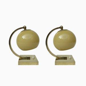 Lámparas de mesa estilo Art Déco vintage de latón pulido. Juego de 2