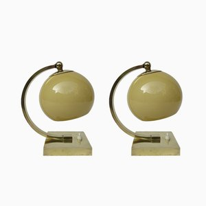 Polierte Vintage Art Deco Stil Messing Tischlampe, 2er Set