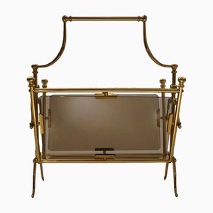 Vintage French Brass Magazine Rack from Maison Bagues, 1960s