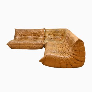 Vintage Leather Togo Sofa by Michel Ducaroy for Ligne Roset, 1970s