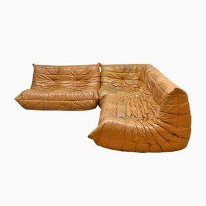 Vintage Leder Togo Sofa von Michel Ducaroy für Ligne Roset, 1970er