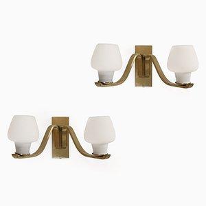 Lámparas de pared danesas vintage de latón de Fog & Morup, años 50. Juego de 2