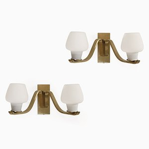 Vintage Danish Wall Lights in Brass from Fog & Morup, 1950s, Set of 2