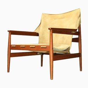 Vintage Suede Kinna Armchair by Hans Olsen for Viska Mobler, 1970s