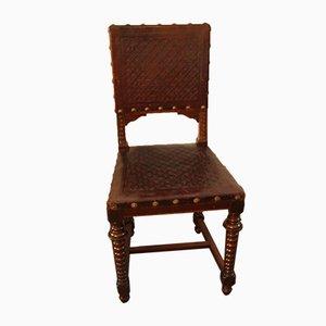 Chaise Antique en Noyer & Cuir, 1880s