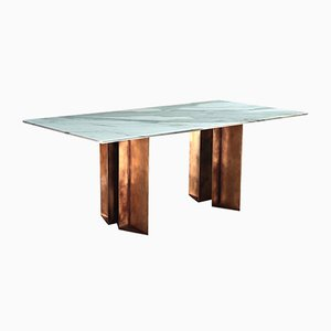 Metropolis Dining Table in Marble and Brass by Lind + Almond for Novocastrian