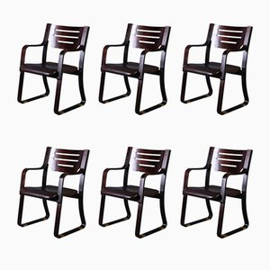 Leather & Bentwood Dining Chairs, 1960s, Set of 6