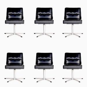 Französische Stühle aus verchromtem Metall und schwarzem Leder, 1970er, 6er Set